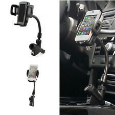 Universal Phone Dual USB Charger Port Car Cigarette Lighter Stand Mount Holder
