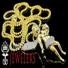 """Yellow Gold Finish Mini Angel Cherub .40Ct Genuine Diamond Pendant & Chain 1.50"""""""