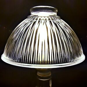 Bell Shaped Pendant Light Cover Fixture Clear Ribbed Glass Lampshade Replacement
