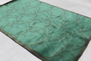 RG13990 Gorgeous Green Color Floral Tibetan Woolen Rug 5' X 8' Handmade in Nepal