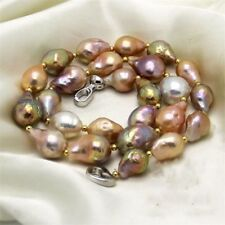 top luster natural baroque kasumi Multicolor pearl necklace 18 inch s925 13-14mm