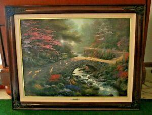 "Thpmas Kinkade ""Bridge Of Faith"" Signed Numbered  Framed Canvas W/COA 25 X 34"