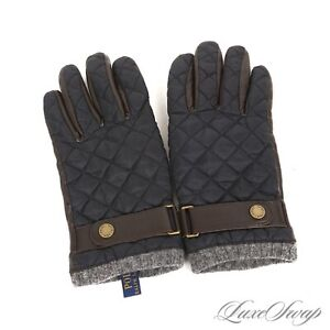 Polo Ralph Lauren Navy Blue Quilted Microfiber Brown Leather Grey Knit Gloves NR