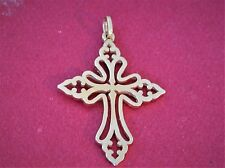"JAMES AVERY St. Cecilia Cross Pendant 14k Yellow Gold  1 1/2"" Long RETIRED"