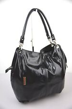 Di Gregorio 8543 Black Patent Leather Tote Shopping Bag 100% Made in Italy