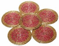 6 Multi-color Beaded Round Handmade Place-mat Table Decor Coffee Tea Coaster