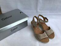GABOR Nieve Women's Wedge Sandals 22.842.44 Sand Suede SIZE UK 6 /EU 39