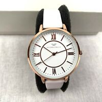 Victoria Walls Women's Watch Quartz Gold White Leather Strap Analog VAB-0014RG