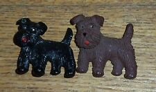 Pair Of Vintage Czechoslovakia Scottie Dog Pins / Brooches - Movable Heads