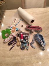 LOT OF THREADS, EMBROIDERY NEEDLES, RIBBONS, ELASTIC, BOBBIN, ZIPPERS, ETC.