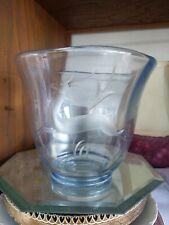 Tiffin Glass Blue Rare Shape Vase Engraved With Antelope Or Gazelle