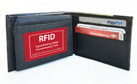 RFID Blocking Men's Leather Bifold Wallet 10 Credit Flip Top Holder