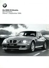 BMW Z3 Roadster Preisliste 1998 1.9.98 D price list prijslijst liste de prix