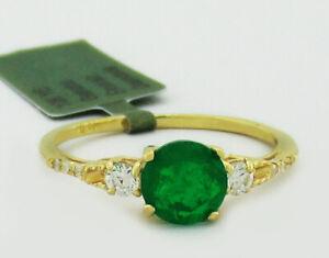 GENUINE EMERALD, W/SAPPHIRE & DIAMONDS RING 10K YELLOW GOLD  *Free Certificate*