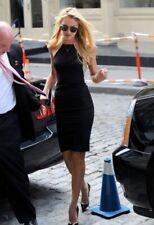 Mason Leather Contrast Trim Bodycon Stretch Dress Small black tan Michelle Mason