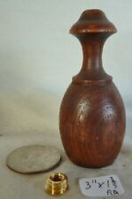"""Lamp finial hand turned oak wood Victorian Antique 3""""h  (RA)"""