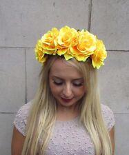 Grande rose jaune Sucre Crâne Fleur Serre-tête Halloween Frida Khalo Big 3257