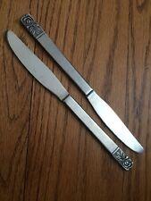 """St Regis SRE1 Jh Stainless SATIN ROSE Black Accent 2 Dinner Knives 8 3/8"""""""