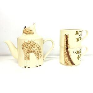 Japan Giraffe Teapot & 2 Cups Ceramic Gempo Giftware #460
