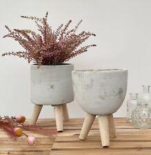 Rustic Concrete Plant Pot on Legs Outdoor Flower Pot Garden Herb Planter Decor