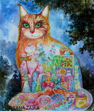 Paris**aquarelle 58x49cm,original/chat,chats,cat,cats,katze,gato