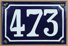 Blu Francese numero di casa 473 cancello piatto placca smaltata acciaio