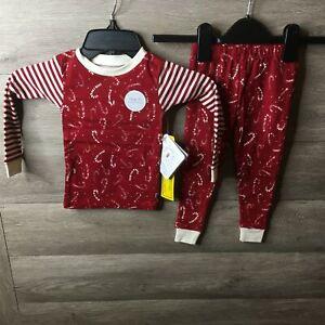 Burts Bees Toddler 2T Red Multi Crazy Canes Organic Cotton 2 Piece Pajama Set NW
