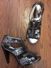 MICHAEL MICHAEL KORS 'Berkley' Gunmetal Sequined T-Strap Strappy Heels Size 8.5
