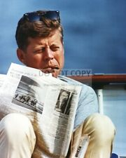 PRESIDENT JOHN F. KENNEDY ABOARD YACHT HONEY FITZ IN 1963 - 8X10 PHOTO (AA-193)