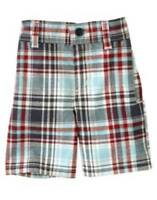"""NWT"" Gymboree Baby Boy's Blue Beach Bulldog Plaid Shorts Size: 18-24 Months"