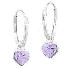 Creolen K551o / für Mädchen Kinder Herz Lila Zirkonia 925 Echt Silber Ohrringe