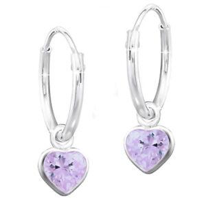 Creolen K551o 925er echt Silber Kristall für Mädchen Kinder Herz lila Ohrringe