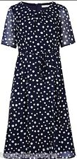 MARKS AND SPENCER CLASSIC NAVY and WHITE SPOTTED SHIFT DRESS Sizes 8-24