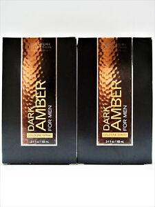 Bath Body Works DARK AMBER for Men Cologne Spray, 3.4 oz/100 mL, NEW x 2