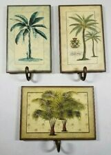 3 Decorative Palm Themed Wall Hooks with Metal Hook