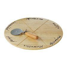 Pizza Board Set, Rubberwood Board, With Pizza Cutter