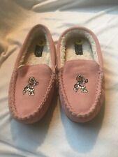 Ralph Lauren Girls Slippers Teddy Bear Sz 3 Desmond Moccasin Pink