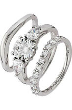 COUTURE PLATINUM PLATED SILVER 2.75CT LOOK CUBIC ZIRCONIA BRIDAL SET 2143183