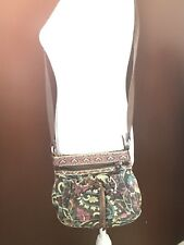 VTG Fossil Tapestry With Leather Accents Paisley Cross Body Handbag