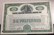 Specimen Certificate General American Investors Co., Inc.. American Bank Note.