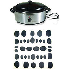 Massage Hot Basalt Stone Kit 36 Piece with 6 Quart Stone Warmer Heater