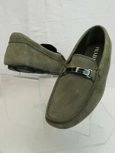 PRADA 2DD159 KHAKI FUMO SUEDE LOGO DRIVING MOCCASINS LOAFERS 7.5 / US 8.5 ITALY