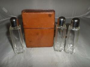 *VINTAGE/ANTIQUE GLASS SCENT/PERFUME BOTTLE SET- LEATHER CASE -COLLECTIBLE GIFT