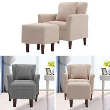 Retro Linen Fabric Button Wing Back Accent Upholster Armchair Cushion Footstool