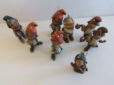 8 Vtg Hong Kong Ornaments Elf Gnome Christmas