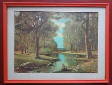Framed Vintage Robert Wood 8x10 Landscape Art Print Woods w Stream Litho in USA