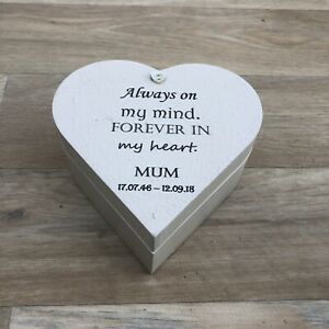 Mum MEMORIAL BOX Or ANY Name In Memory of a Loved One Heart Box