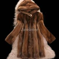 3XL Women Real Mink Fur Coat Jacket Winter Warm Outdoor Luxury Parka Fur Jacket