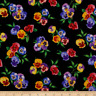 BTY Timeless Treasures PANSY BUNCHES on Black Print 100% Cotton Quilt Fabric YD