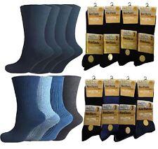 Mens Non Elastic 100% Pure Cotton Socks 12 Pairs Gentle Grip Soft Top Diabetic